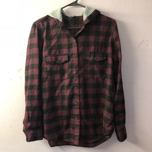 F21 Plaid Hooded Button Down Shirt (Size Small)